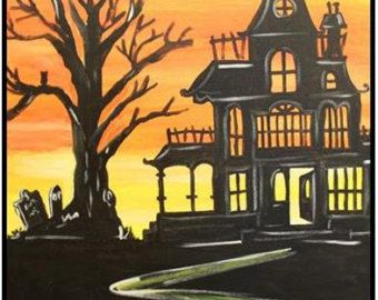 Spooky Haunted House Original Acrylic Painting Canvas Painting