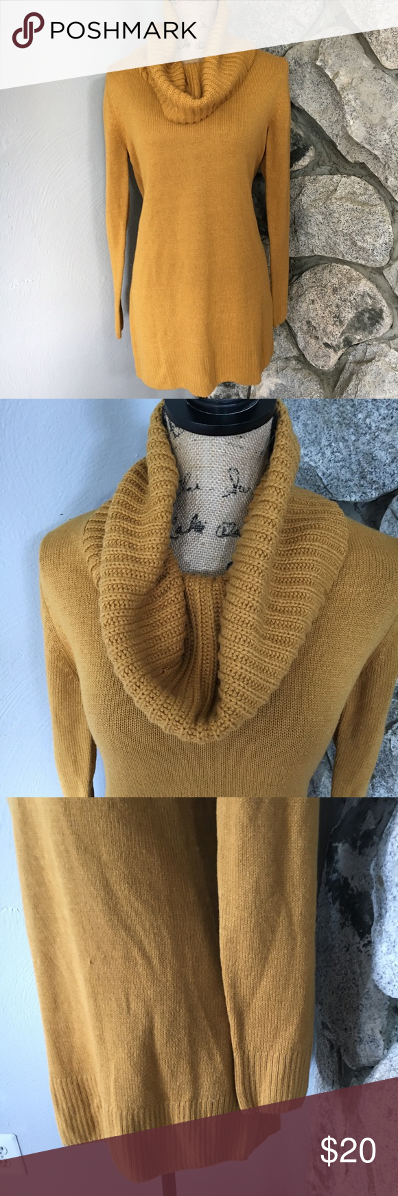 Mustard H&M Cowl Neck Long Sweater | Yellow sweater, Long sweaters ...