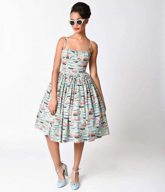 Bernie Dexter 1950s Style Grey Paris Record Cotton Swing Dress | 40s ...
