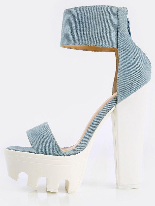 46b42638e9 Wild Diva Lounge Jean Blue Denim Lug Sole Heels LT BLUE   MakeMeChic ...