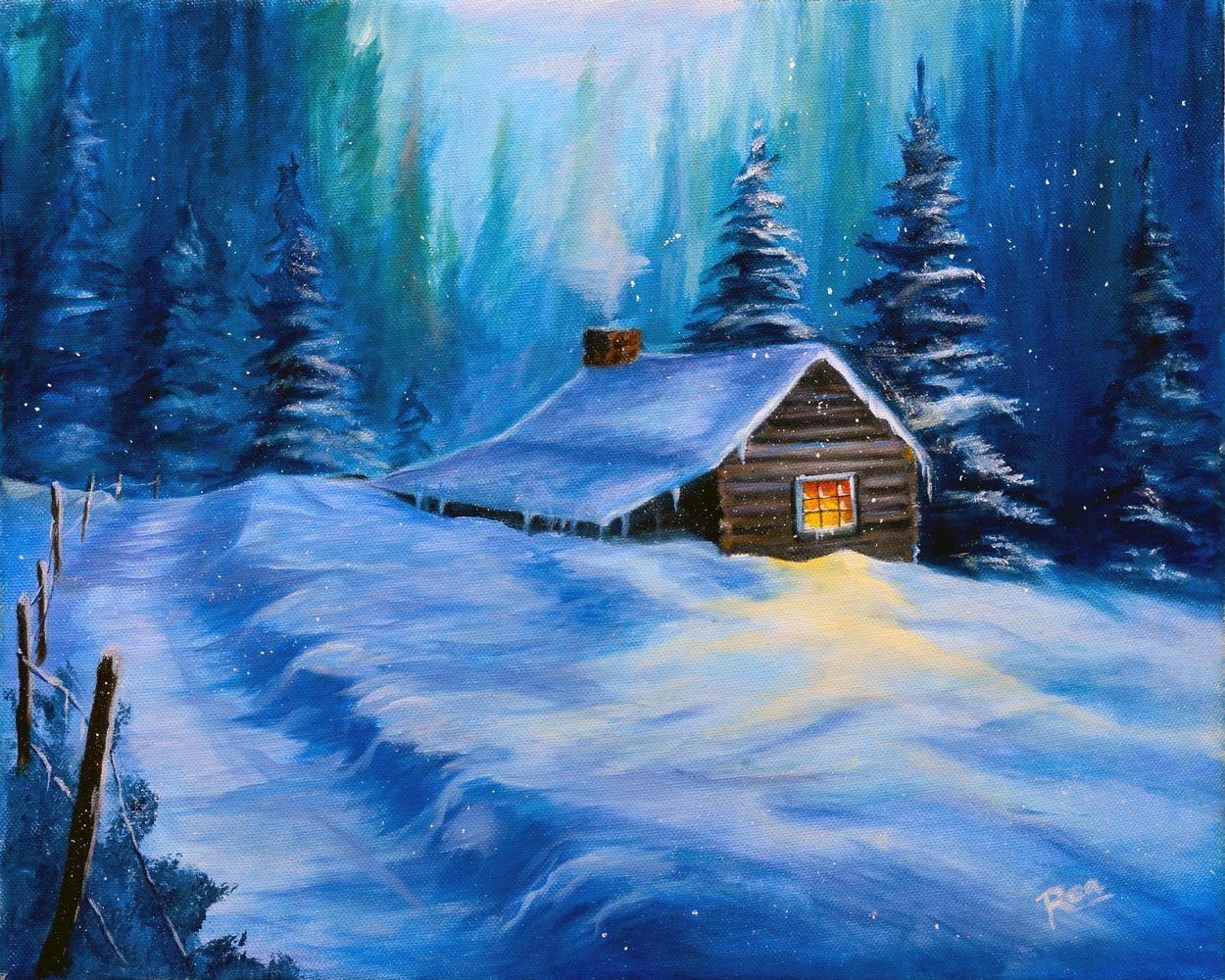 Домик в лесу рисунок зима