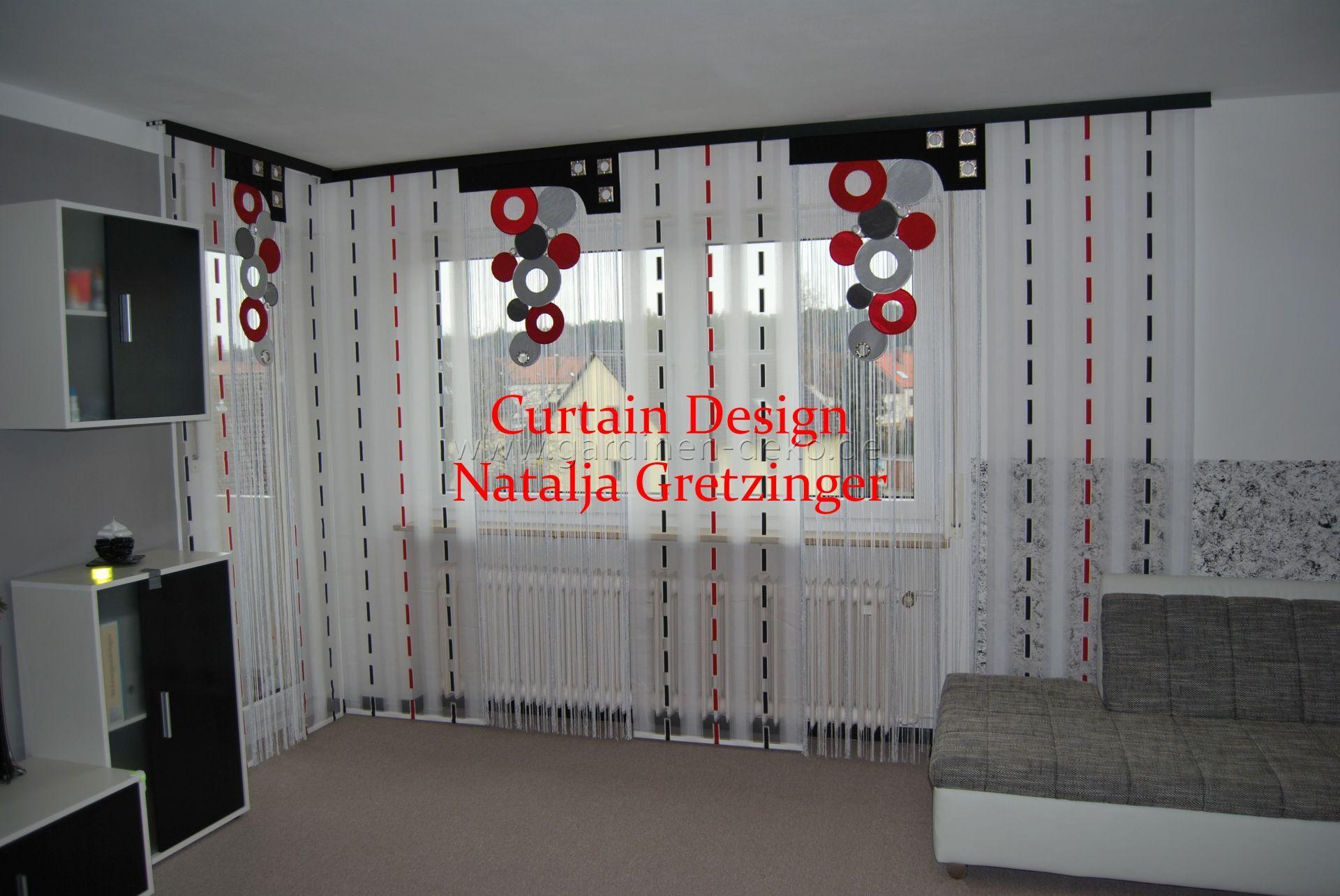 Formschöne Wohnzimmer Gardine im Kreis-Strich-Design - http://www ...