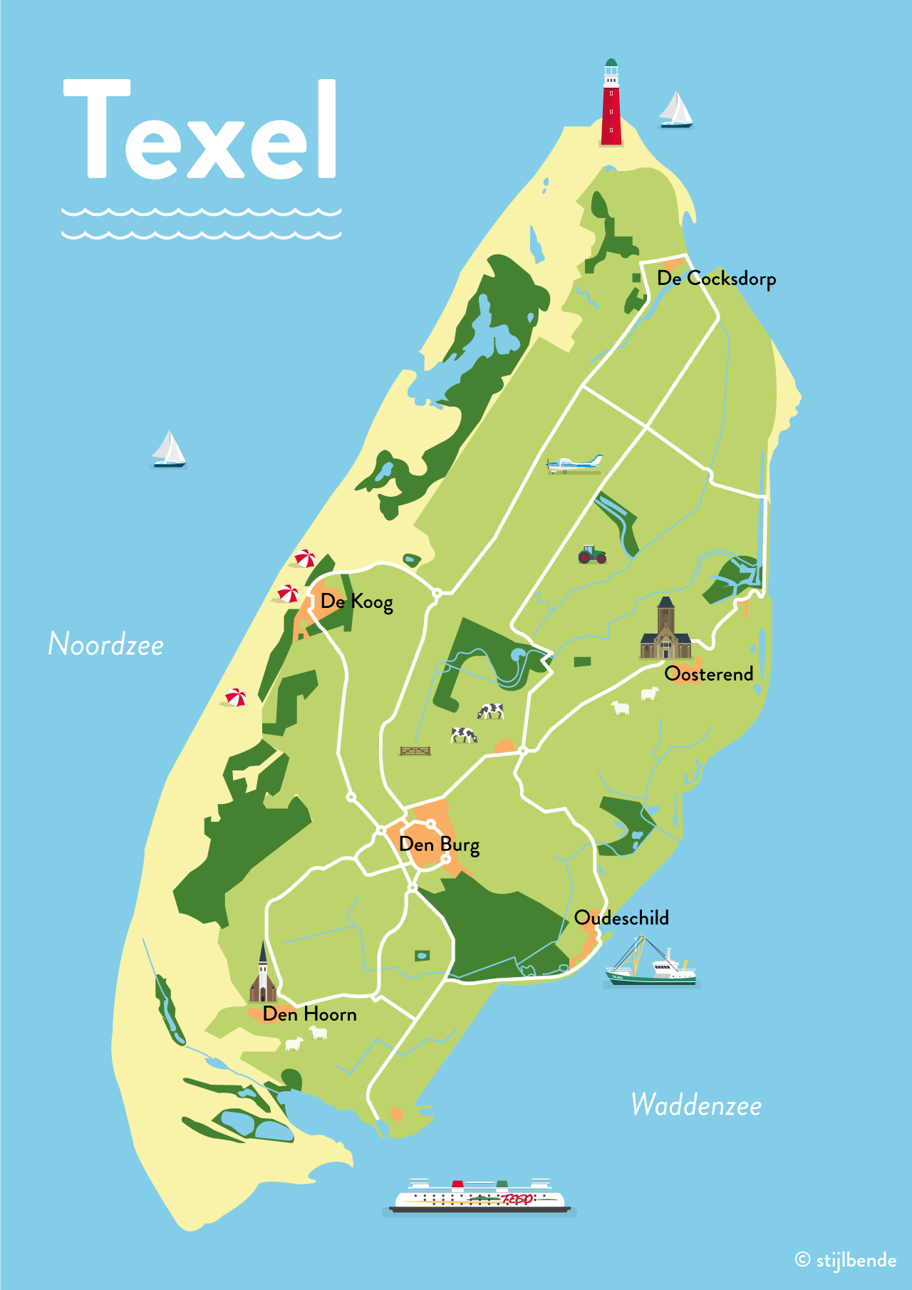 Karte Texel.Illustrated Map Of Texel By Stijlbende Map Illustration Island