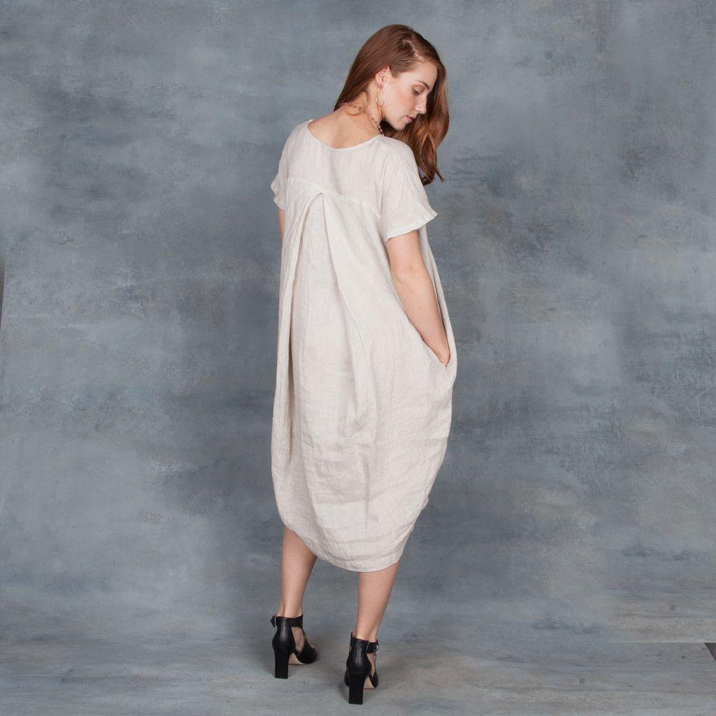 4f008ef24f Black Crane Pleated Cocoon Dress in Oatmeal – Tamarind