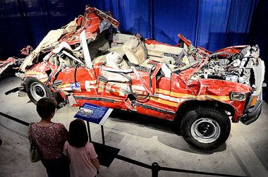 a destroyed fdny fire vehicle at the wtc on 9 11 9 11. Black Bedroom Furniture Sets. Home Design Ideas