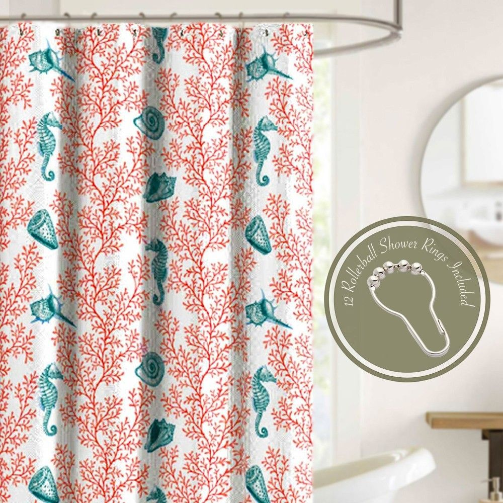 Crest Home Alba Coral Fabric Shower Curtain Set With 12 Roller Hooks Beach Shower Curtains Nautical Shower Curtains Coral Decor