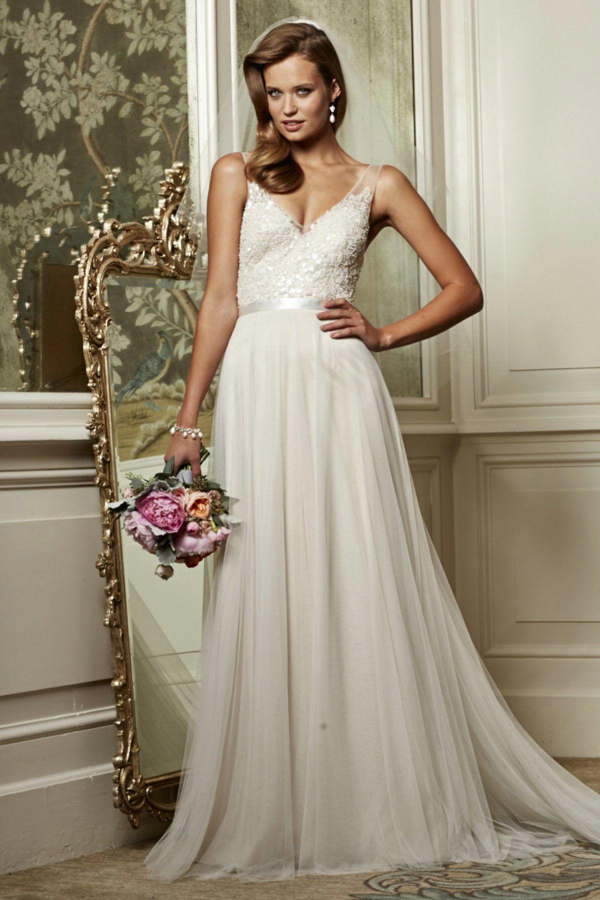 lace top sash beach wedding dress Sheer wedding dress