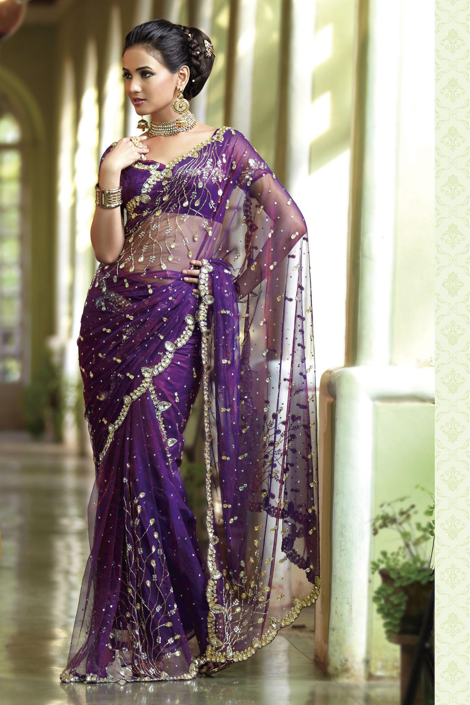 Bridal wedding sarees sarees for indian bridal for Sari inspired wedding dress