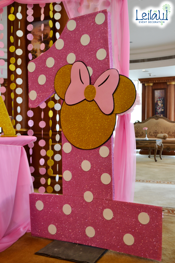 Large Number One For Pink And Gold Minnie Mouse Theme