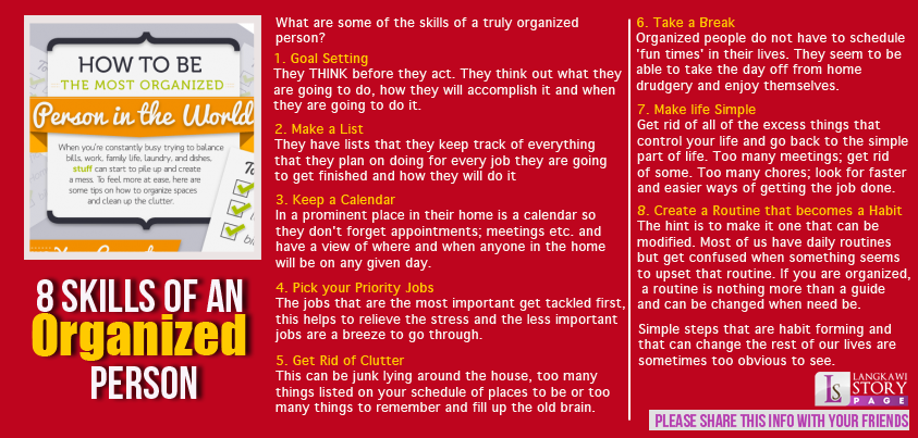 8 skills of an organized person! #Personal Leadership #Women