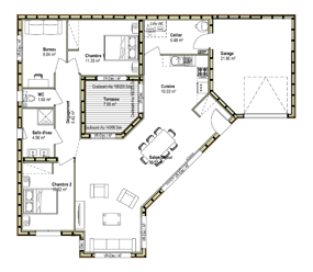 plan maison contemporaine 140 m2