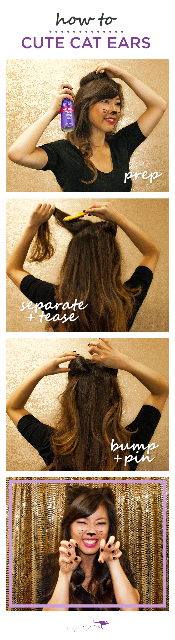 A Cute Cat Ears Hairstyle Is A Great Last Minute Diy Halloween Costume Here S 3 Easy Steps From Celebrity Stylist Sarahpotemp Hair Styles Halloween Hair Hair