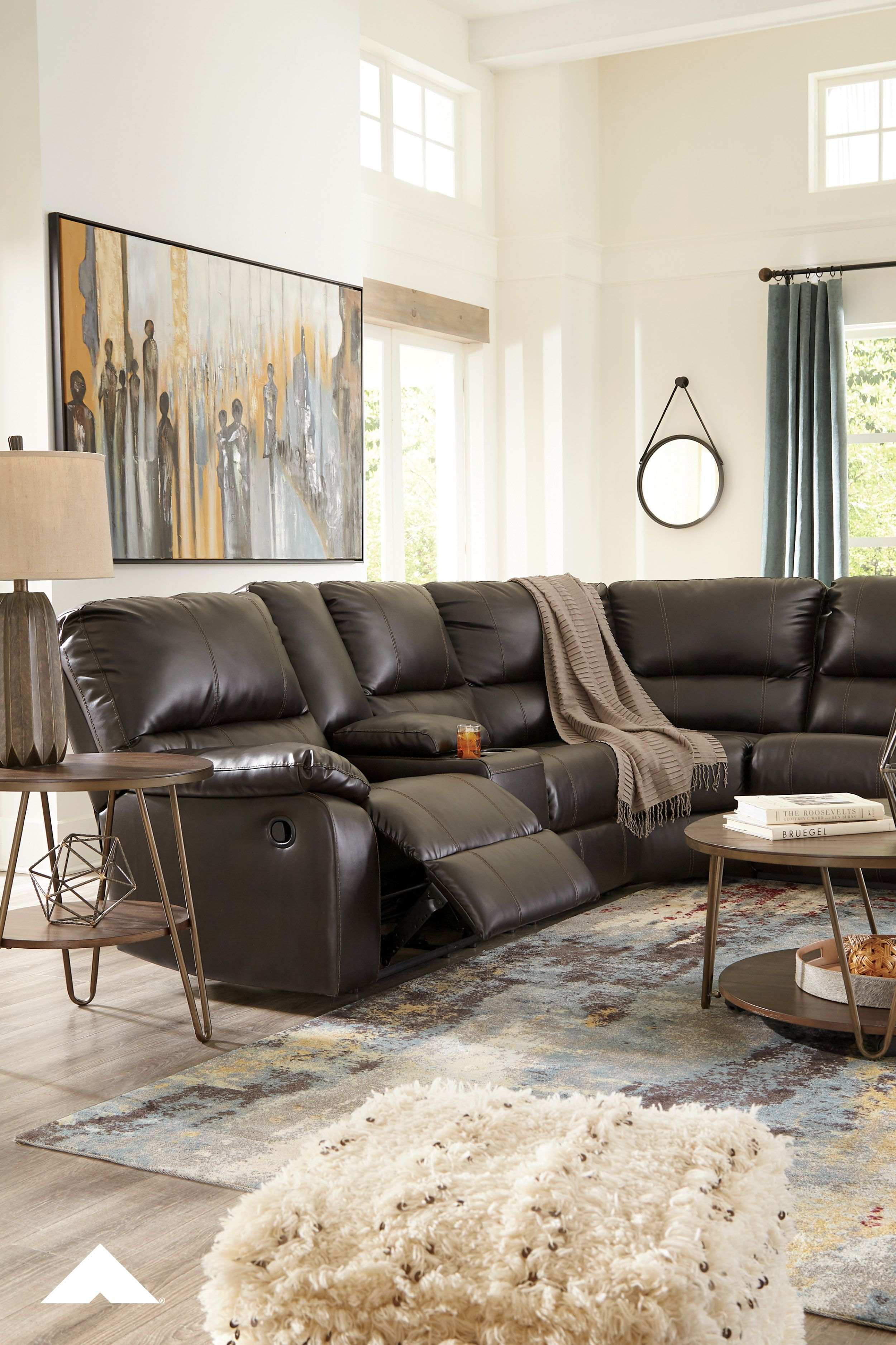 Warstein Chocolate Reclining Sectional By Ashley Furniture Ashleyfurniture Stylishsectionals Livingroom Fa Ashley Furniture Sectional Reclining Sectional