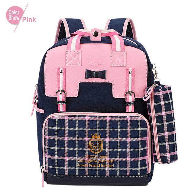 RoyaDong Children School Bags For Girls Kids Fashion Bags Plaid Backpack Set Princess Bow Cute Mochila Escolar Sac A Dos Enfant