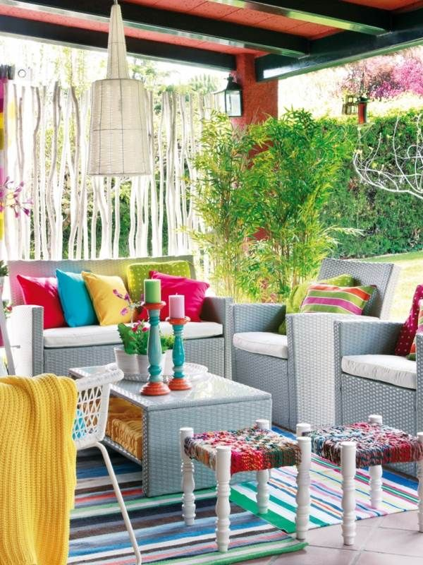 Terrasse Sichtschutz Rattan Mobel Bambuspflanzen Kunterbunt Garden