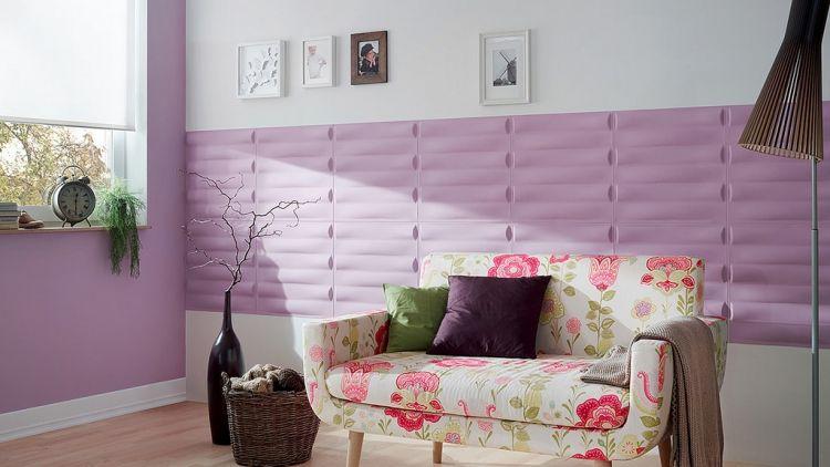 Kreative Wandgestaltung im Wohnzimmer 3D Wandpaneele Wohnzimmer - wohnzimmer grau magenta