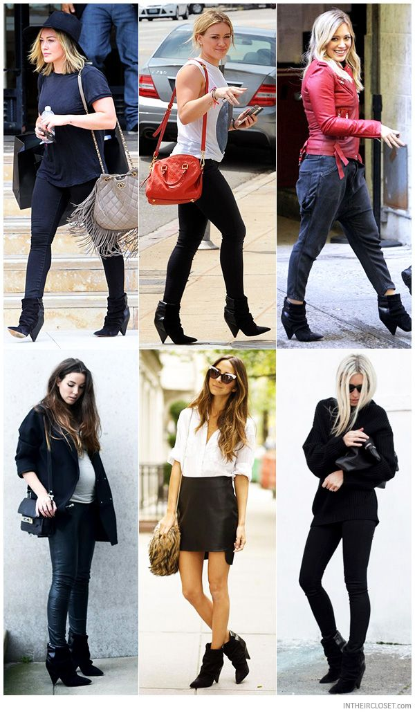 526873877 Celebs   Style Bloggers in Isabel Marant Andrew Suede and Leather Ankle  Boots