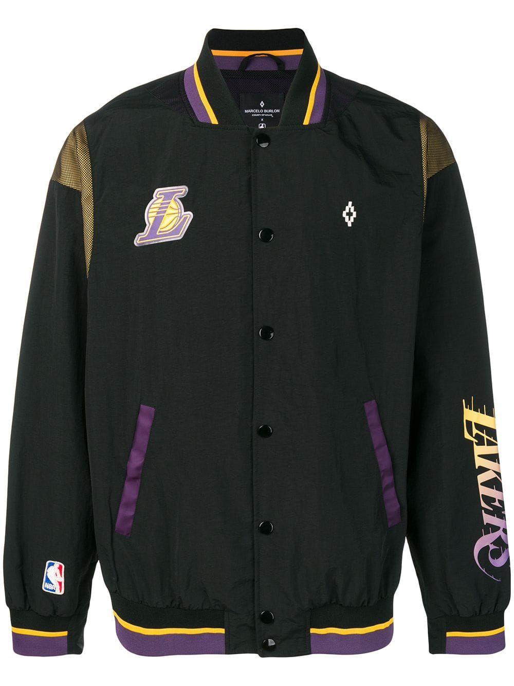 Marcelo Burlon County Of Milan Marcelo Burlon X Nba La Lakers Bomber Jacket In Black Modesens Mens Outdoor Jackets Black Bomber Jacket Marcelo Burlon