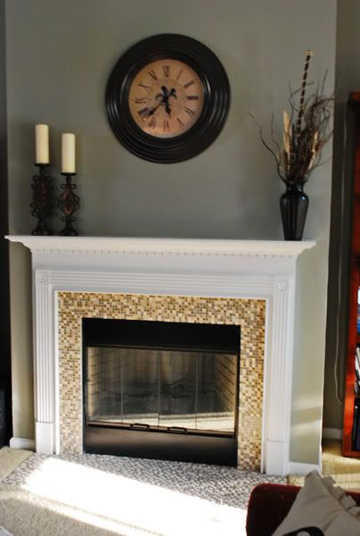 Fireplace Update W/ Mosaic Tiles. Good Call Getting Rid Of The Ugly Brass