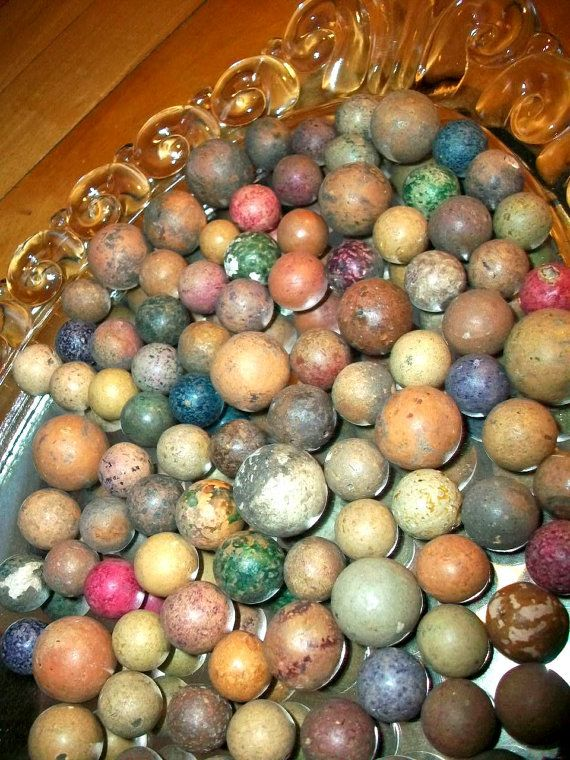 100 Antique Clay Marbles 1800s By