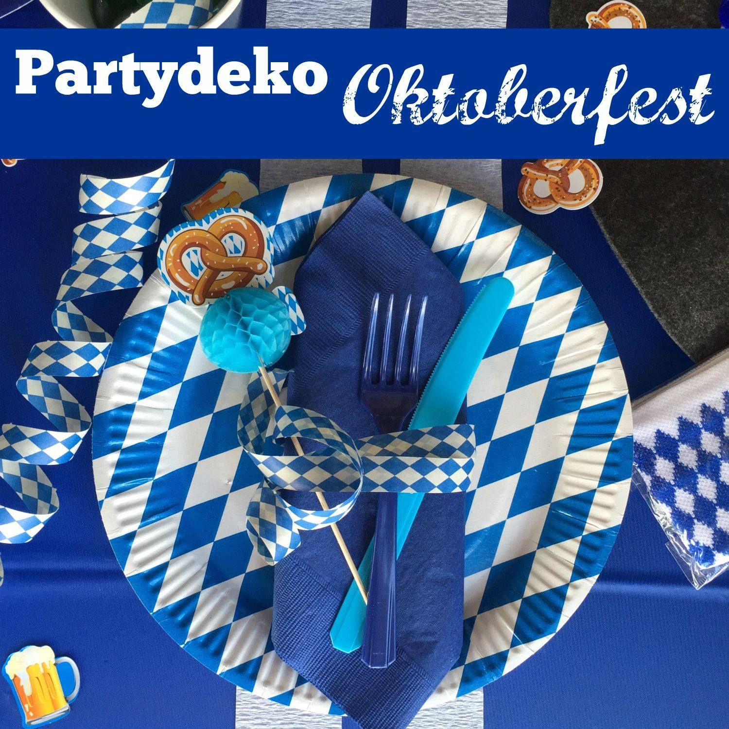 oktoberfest deko in weiss blau oktoberfest party. Black Bedroom Furniture Sets. Home Design Ideas