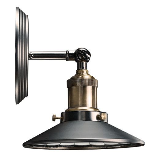 Bulbrite Industries Nostalgic Vintage 1-Light Wall Sconce with Mirrored Reflector Shade $87.99