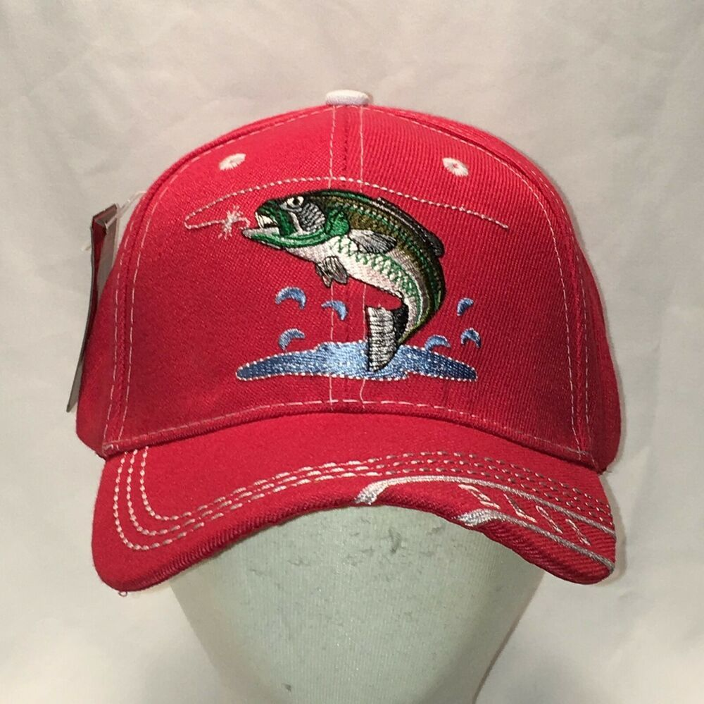 Bass fishing hat red baseball cap fisherman mens hats