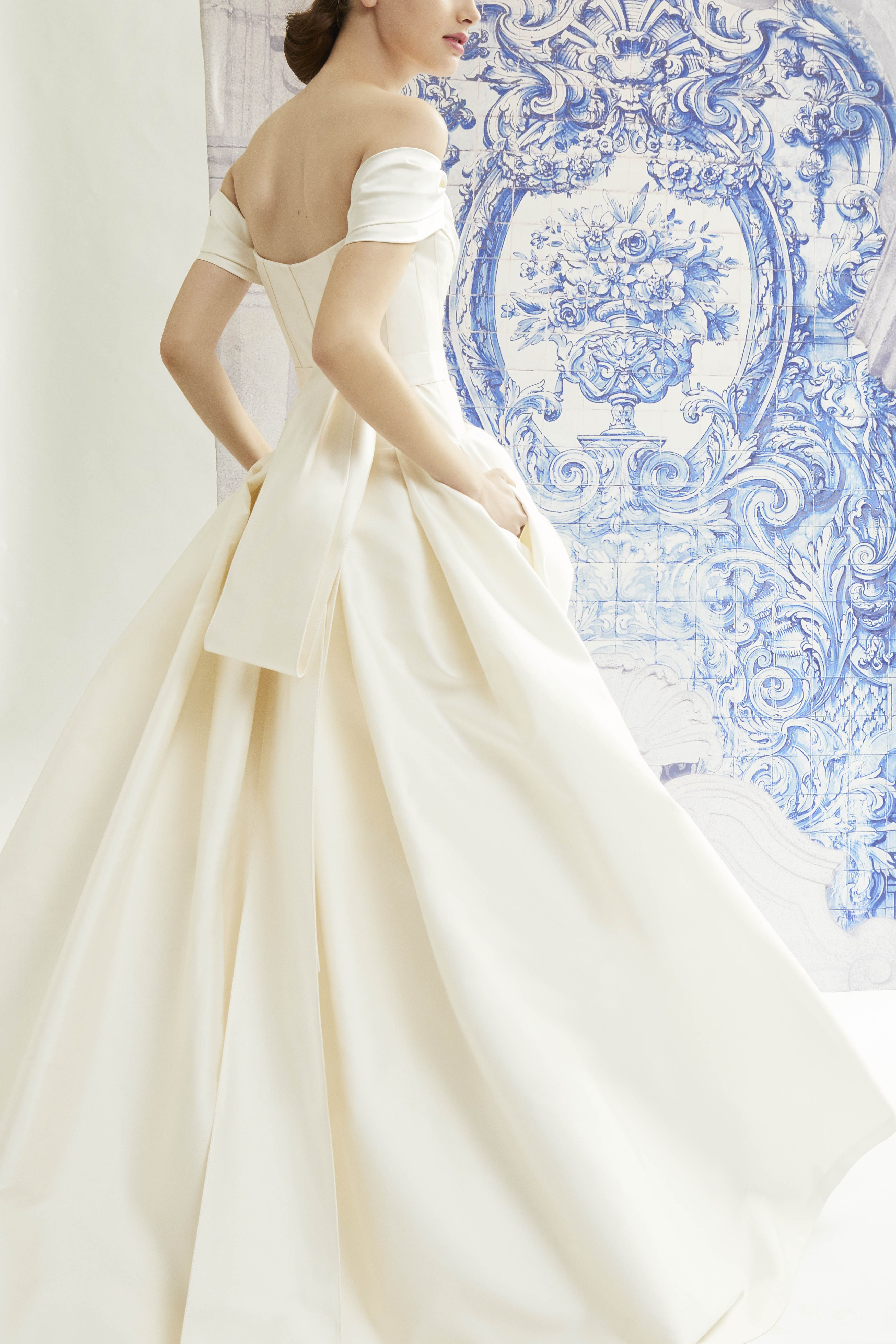 Off Shoulder Silk Mikado Isabelle Ballgown With Dropped Waist And
