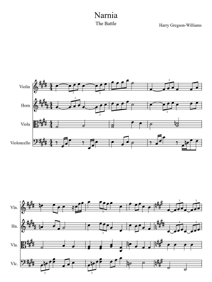 Print and download in PDF or MIDI Narnia  Most epic battle