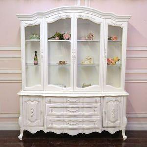 Amazing Shabby Cottage Chic White French Style China Cabinet Hutch Roses Vintu2026