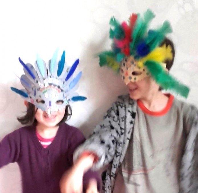 Masque Carnaval Rio de Janeiro, Brasil, birds, DIY mask