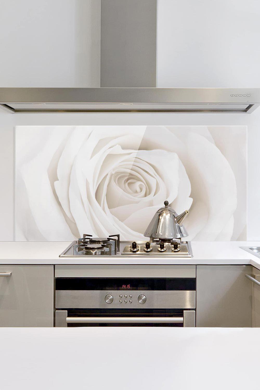 Spritzschutz Glas - Pretty White Rose - Quer 1:2 ...