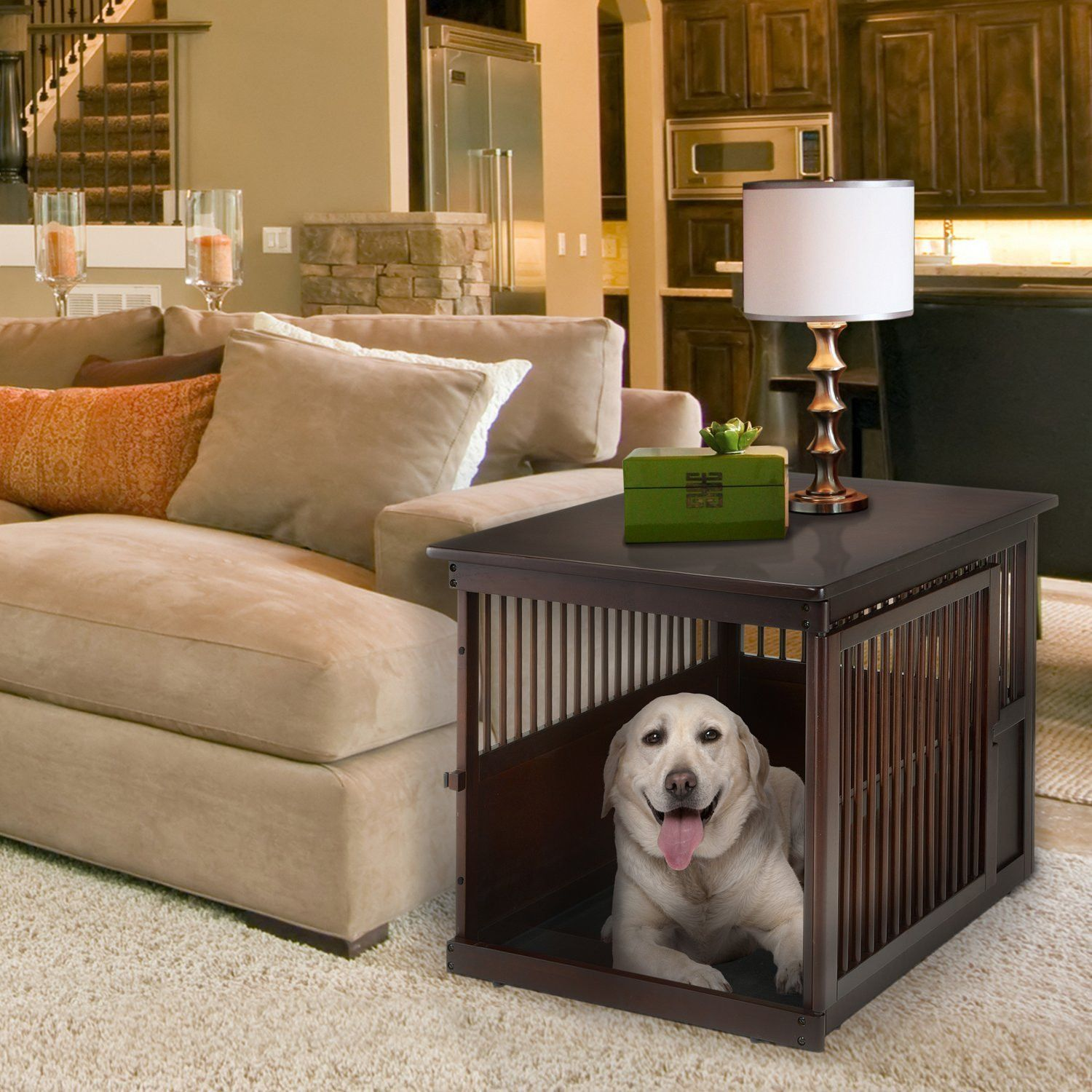 cool end table dog crate furniture | Large End Table Dog Crate | Cool things | Wooden dog crate ...