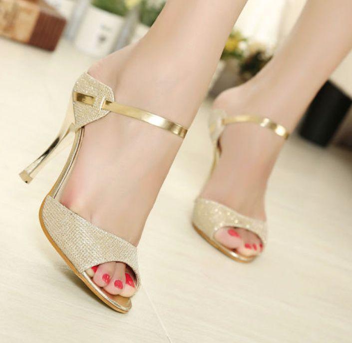 Sandalias de cuña de oro zapatos de mujer sandalias de diapositivas de punta abierta njJseDn86z