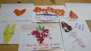 Pintamos con hojas y temperas, creando personajes...