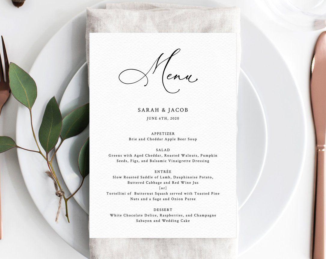 Personalised Wedding Menu Minimalist Wedding Decor Black Wedding Menu Cards Printed Wedding Menu White Ink Printing