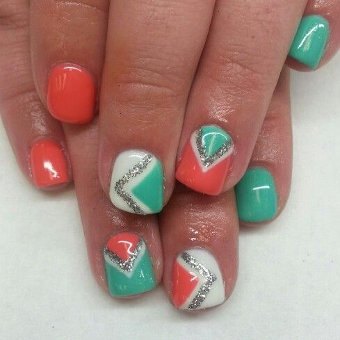 coral salmon and teal shellac