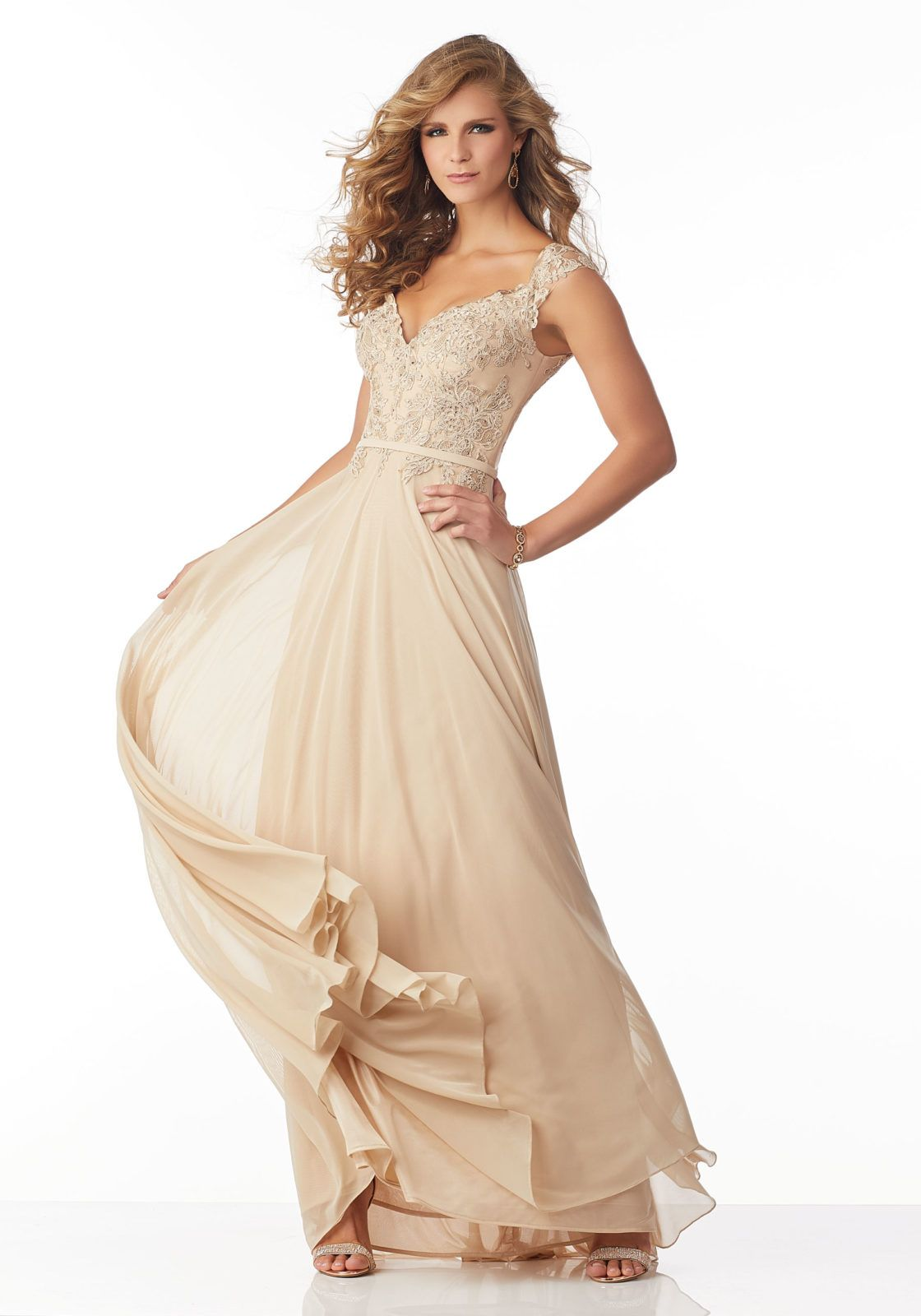 c36b880c428 Stretch Mesh Evening Gown with Beading and Embroidered Lace Appliqués