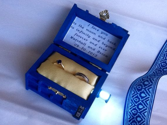 TARDIS Wedding Ring Box With LED Light Handmade Tardis Engagement