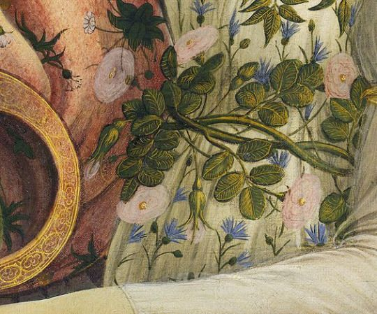 Close up of the floral details in La Primavera and The Birth of Venus by Sandro Botticelli