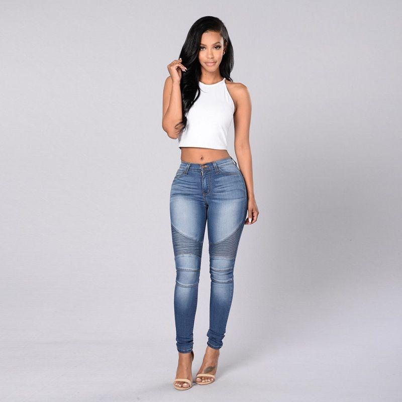 Capri pants denim skinny Womens pencil cropped trousers jeans high waist slim