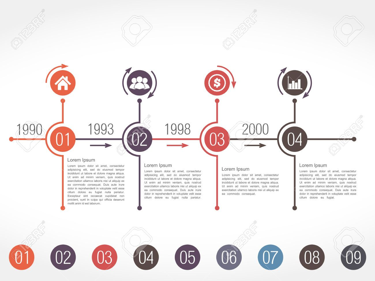 horizontal timeline infographics design template timeline and