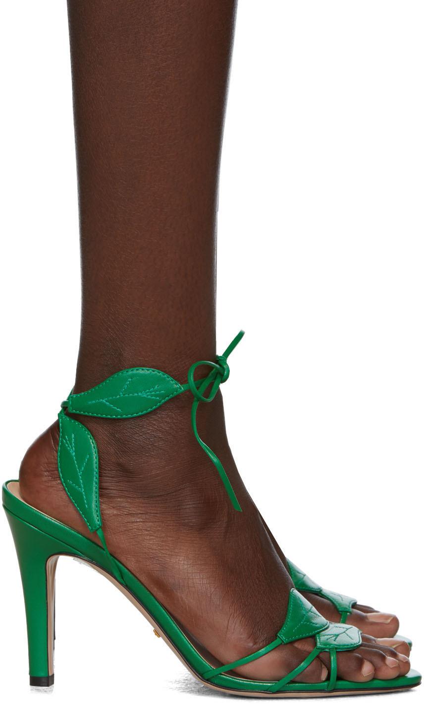 Gucci Green Gianta Leave Heeled Sandals Ssense Heels Green Heels Sandals Heels