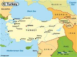 Map showing location of Turkey Turkey lies in both Asia and Europe