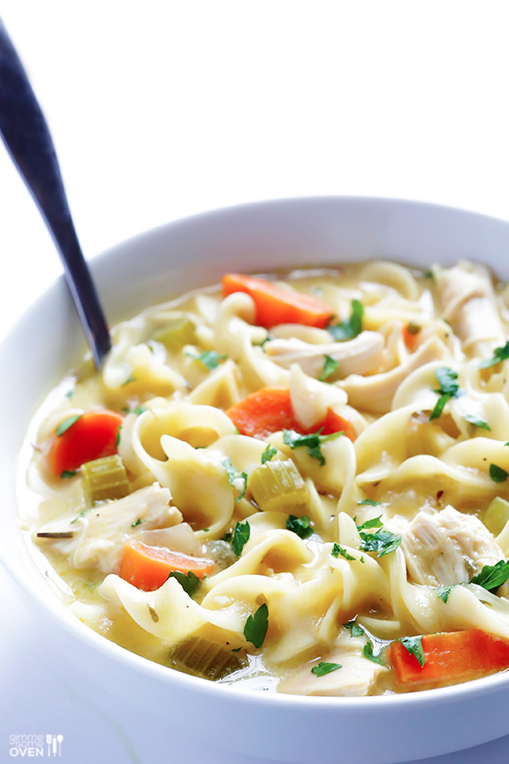 This (skinny!) chicken noodle soup recipe is easy to cook in 30 minutes, made with healthier ingredients, and is SO tasty and comforting!