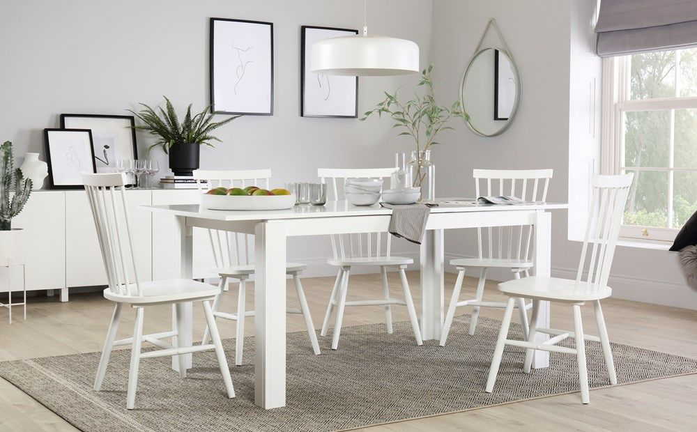 Aspen White Extending Dining Table With 4 Pendle Chairs Black