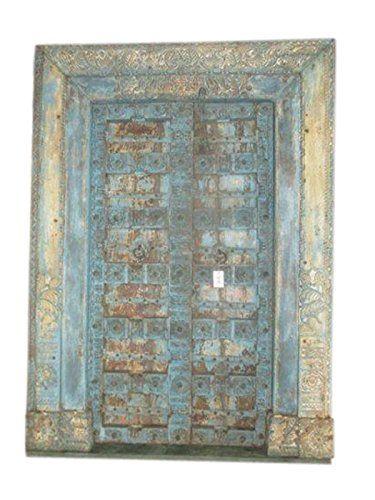 Mogul Hand Carved Salvage Reclaimed Teak Wood Door Distressed Blue Patina Interior Http