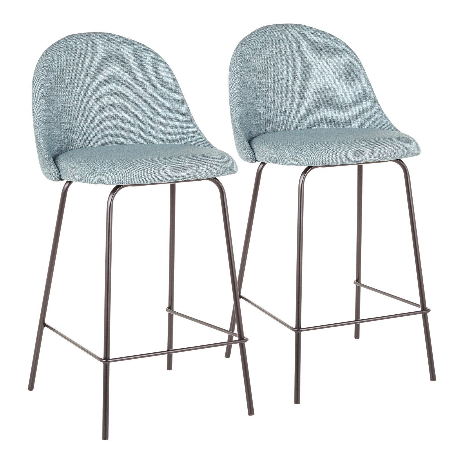 Lumisource Lana 25 In Solid Back Counter Stool Set Of 2 Green