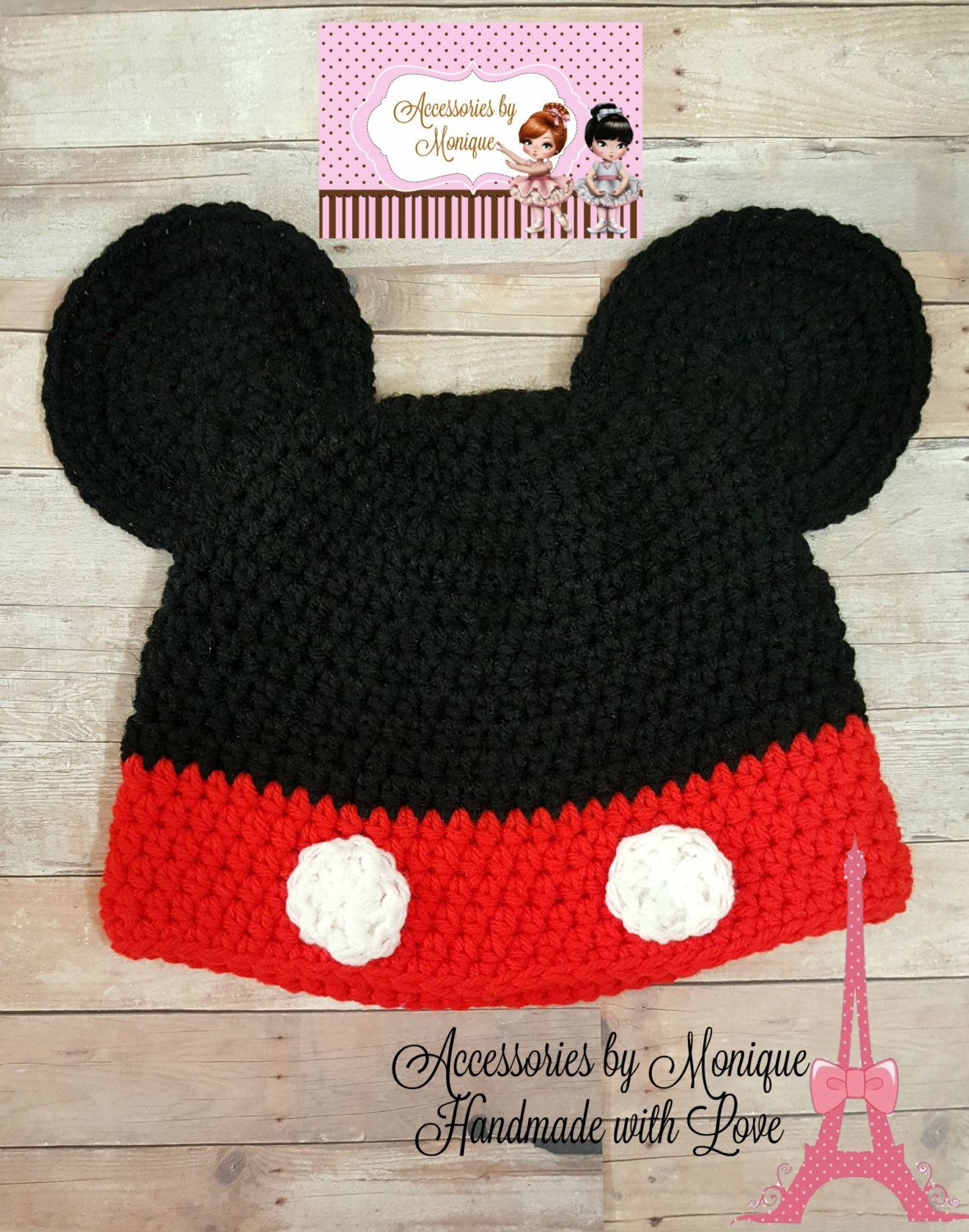 49861816b49a94 Crochet MICKEY MOUSE HAT Beanie with Ears Newborn Preemie Baby Toddler Girl  Boy Child Teen Woman