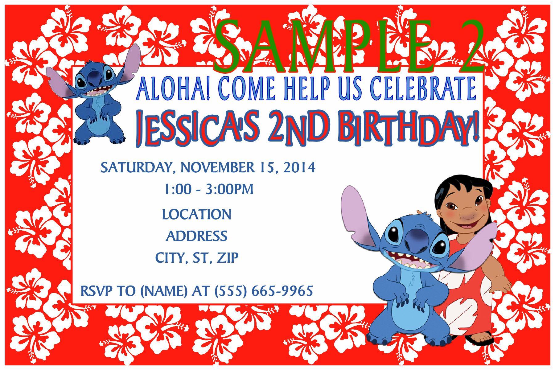 Lilo & Stitch Birthday Invitation. Click on the image twice to place ...